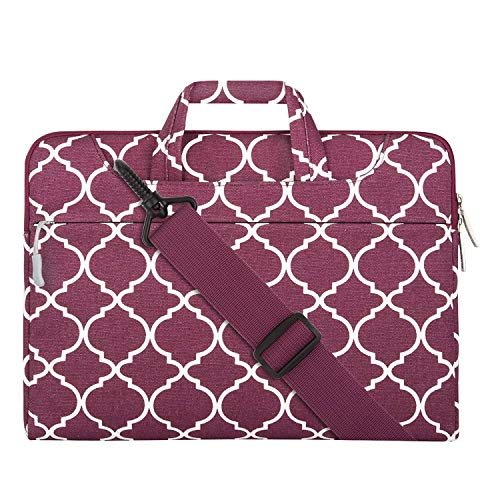 MOSISO Laptop Shoulder Bag Compatible with 15 inch MacBook Pro Touch Bar A1990 A1707, 14 HP Acer Chromebook, 2019 Surface Laptop 3 15, Canvas Geometric Pattern Briefcase Sleeve, Burgundy Quatrefoil