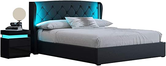 Double PU Leather Gas Lift Storage Bed Frame Wood Bedroom Furniture with LED Lights Black