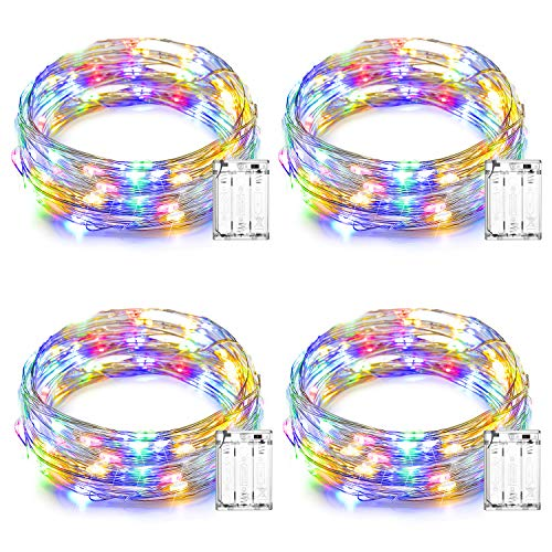 Ooklee Fairy Lights Battery Operated, 5m 50 LED Rainbow Copper Wire String Light, Firefly Twinkle Lighting for Bedroom Home Garden Party Indoor Room Christmas Decoration Accessories(Multi Colour)