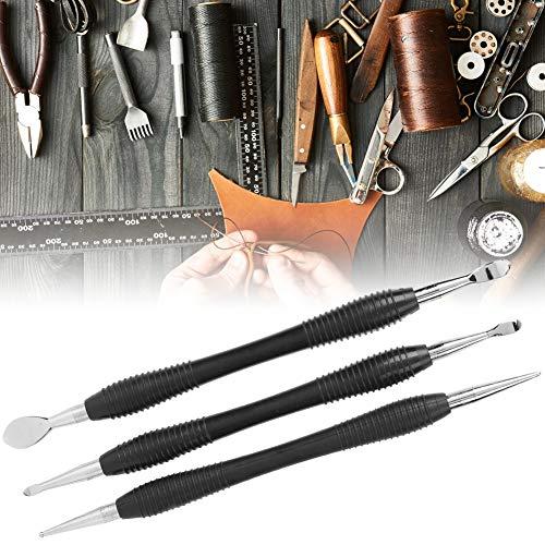 3 piezas duradero y práctico Kit de colección de artesanía estacionaria Juego de herramientas de aguja de cuchara de artesanía de cuero Fabricación de cuero