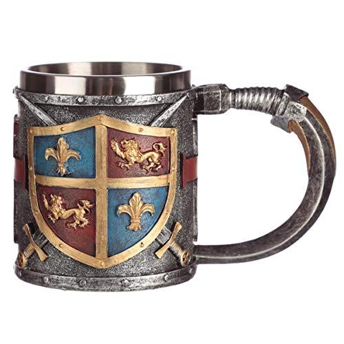 Puckator Mittelalter Deko Krug Wappen und Schwert, originelle Tasse, Bierkrug Trinkbecher im Ritter-Stil, 360 ml Maße 10,5 x 9 cm, Polyresin und Edelstahl