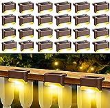 Luces Solares para Jardín, Luces para Escalones, Luces Solares para Exteriores, Luces Solares para Postes de Valla, Impermeables para Caminos al Aire Libre, Patio, (Blanco Cálido) 24 Piezas,
