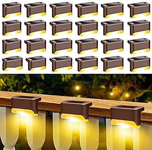 Solar Gartenleuchten, Stufenleuchten, Solarleuchten Im Freien, Zaunpfosten Solarleuchten, Wasserdicht für Außenwege, Hof, Zaun, Treppen, Stufen und Zäune (warmweiß) 24 STÜCKE,