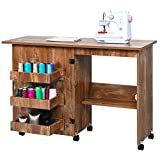 Sewing Machine Table Folding Sewing Craft Cart with Storage Shelves and Lockable Casters, Small Rolling Sewing Machine Table Cabinet Art Desk, Space-Saving Sewing Cabinet for Small Room, Brown
