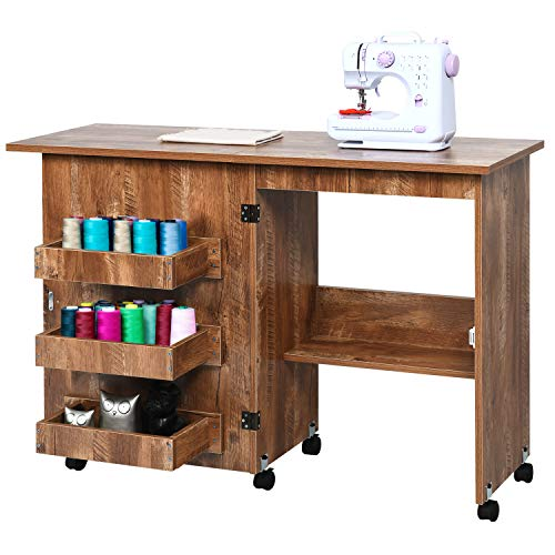 Folding Sewing Table Multifunctional Sewing Machine Table with Storage Shelves, Adjustable Sewing Craft Cart with Lockable Casters, Wood Sewing Table Cabinet Art Desk for Small Spaces, Brown