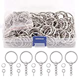 Swpeet 450Pcs 4/5 Inch 20mm Sliver Flat Key Chain Rings Kit, Including 150Pcs Split Keychain Rings with Chain and 150Pcs Jump Ring with 150Pcs Screw Eye Pins Bulk for Jewelry Findings Making