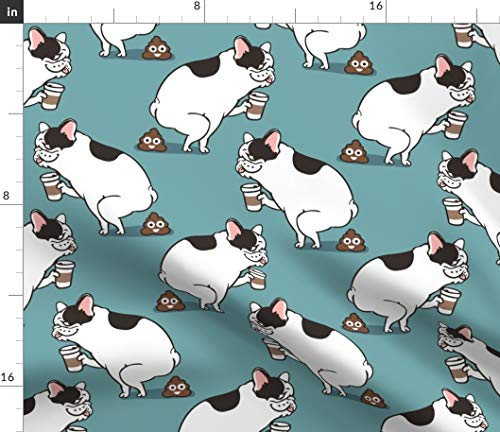 Spoonflower Fabric - Coffee French Bulldog Poop Printed on Organic Cotton Knit Fabric by The Yard - Baby Blankets Clothing Apparel T-Shirts