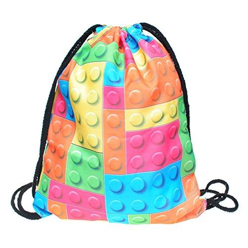 Bolsa con cordón para niños, niñas y adolescentes, con estampado completo. Bolsa plegable de nailon, para la escuela, viajes, hogar, deportes, Lego