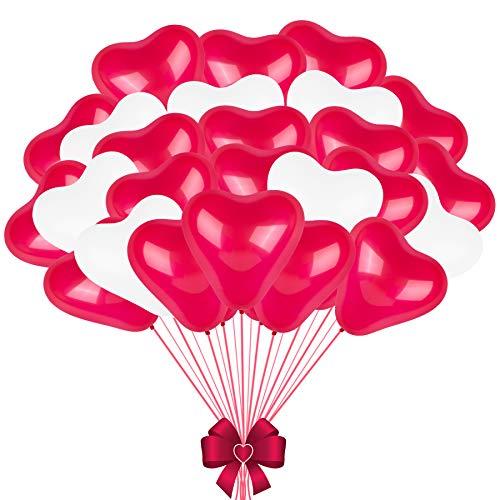 FORMIZON 60 Piezas Globos de Corazon, Globos del Corazón del Amor, Rojo 30 Piezas + Blanco 30 Piezas, Globos de Corazón Decoración para Fiesta de Cumpleaños Fiesta de Boda Decoración