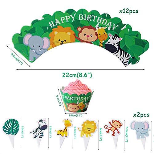 ERFHJ Gelukkige verjaardag decoratie dier taart topper 1e verjaardag feest decoratie kind taart top hoed jungle safari partij benodigdheden