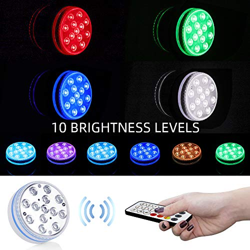 iToobe Submersible LED Pool Lights Remote Control (RF), Suction Cups, Magnets, Color Changing Waterproof LED Light Battery Operated Bathtub Lights for Hot Tub, Pool, Pond,Foundation,Party