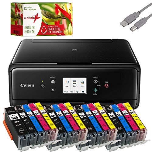 Bundle Canon PIXMA TS6250 Tintenstrahl Drucker Multifunktionsgerät schwarz mit 20 komp. realink® Tintenpatronen für PGI-580/CLI-581 XXL (Drucken, Scannen, Kopieren)