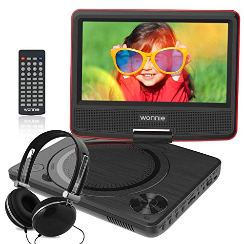 WONNIE 7.5 Inch Portable DVD Player for Car with 4 Hour Rechargeable Battery, USB / SD Slot, Perfect Gift for Kids ( Red )