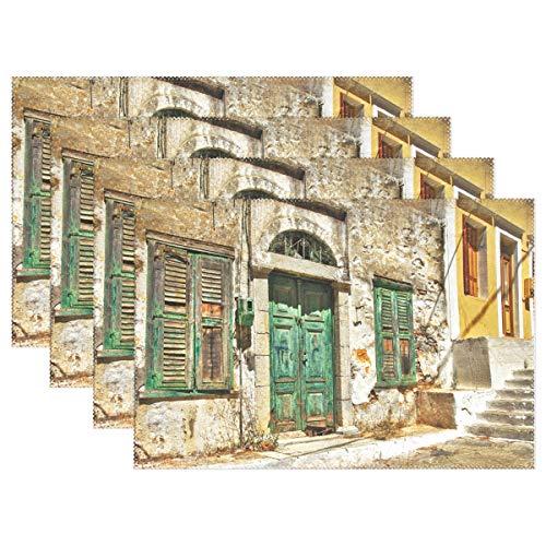 FANTAZIO placemats Charmante Oude Straten Van Griekse Eilanden Patroon Tafelmatten Placemats voor Keuken Eettafel Decoratie Wasbaar Duurzaam