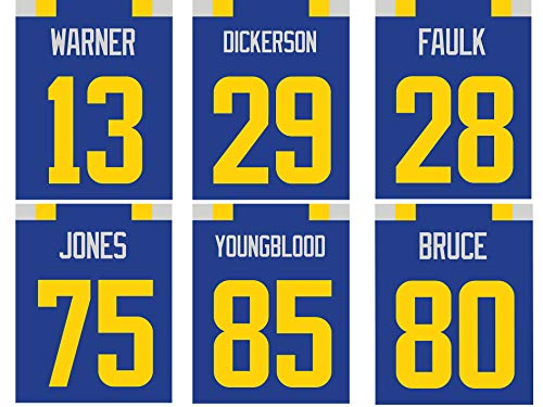 Los Angeles Rams Poster Set of Six Vintage Jerseys- Poster Prints