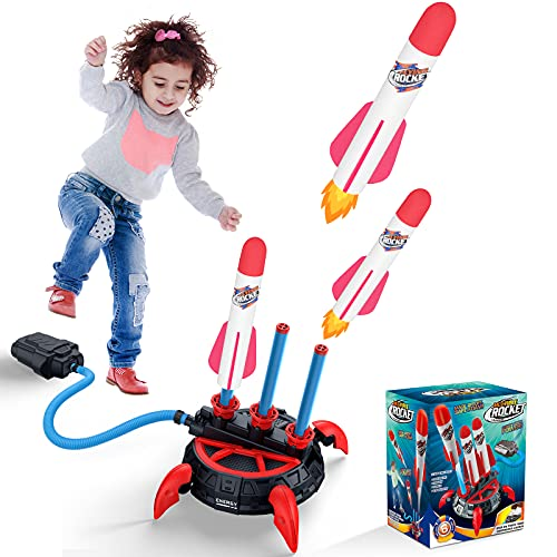 BlueFire Razzo Spaziale Giocattolo, Giocattolo Lanciarazzi, Air Rocket, Razzo Giocattolo con 6 Razzi, Giochi per Bambini e Regali per Bambini