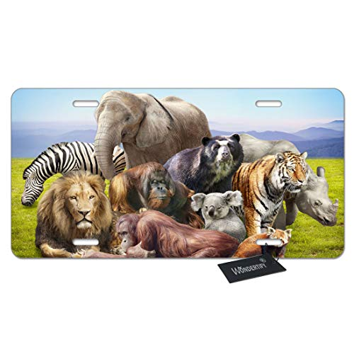 WONDERTIFY African Animals License Plate Group on Grass Tiger Elephant Lion Zebra Koala Decorative Car Front License Plate,Vanity Tag,Metal Car Plate,Aluminum Novelty License Plate,6 X 12 Inch