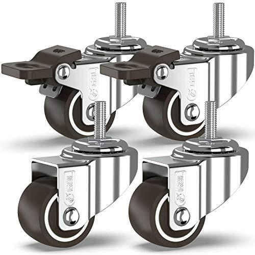GBL - 4 Ruedas para Muebles 25mm TPR 40KG | M6x20mm Ruedas Giratorias, Rueda Pivotantes, Ruedas de Freno Industrial Con Placa de Montaje