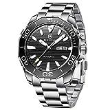 BERSIGAR BG-1617 Relojes automáticos de los Mejores Hombres - Reloj de Negocios Informal con dial Negro de Acero Inoxidable Impermeable para Hombres