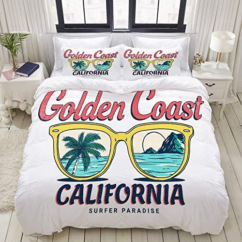 Rorun Bettbezug-Set, Kalifornien Vektor-Illustration T-Shirt-Druck Andere, Bunte dekorative 3-teilige Bettwäsche-Set mit 2 Kissen Shams