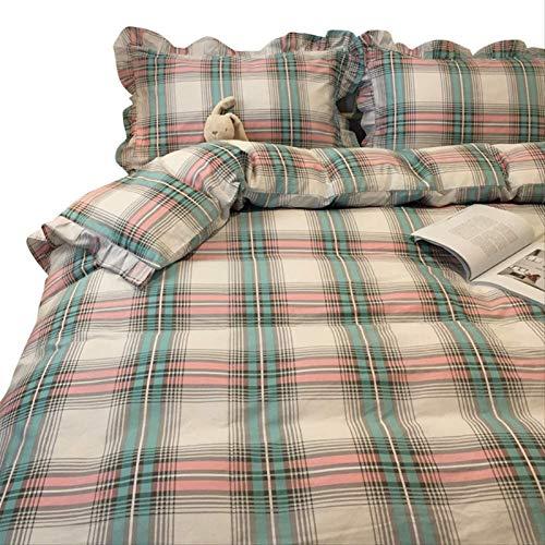 Auoeer Conjunto de Tapa de edredón de tamaño King de 4 Piezas de algodón 100% algodón 1 Cubierta de edredón y 2 Funda de Almohada, sábanas de 1 Pieza