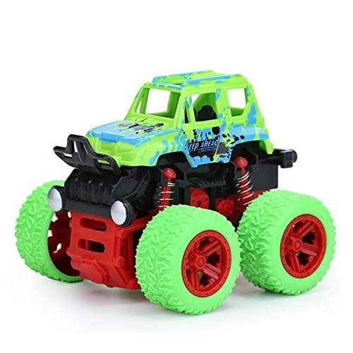 Toy Cars for Kids 1 - 5 Years Old Boys Girls Monster Trucks Push & Go Car Toy Durable Big Wheels 360 Rotating Stunt Toy Vehicle (Green)