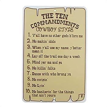 Treasure Gurus The Ten Commandments Cowboy Style Metal Sign Funny Christian Home Wall Decor