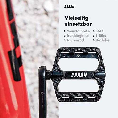Aaron Rock Plattform Mountainbike/ MTB/ Flat Pedale mit Hochwertigen Industrie-Kugellagern und Top Grip, Trekking, E Bike Fahrradpedale aus Alu, verschiedene Farben - 2