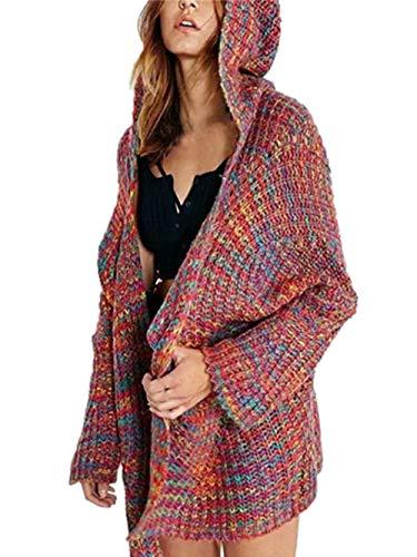 Ansenesna Cardigan Damen Herbst Winter Strick Hoodie Locker Warm Elegant Mantel Mit Kapuze Mode Freizeit Bunt Für Mädchen Teenager (Rot, XL)
