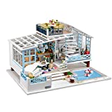 DIY Dollhouse Miniature Kit Wooden Creative Room with Furniture Villa Pool Mini DollHouse Building Kit Led Light Dust Cover Music Box 1:24 Scale House Kit for Adults Girls Birthday Gift Toy
