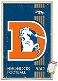 Trends International NFL Denver Broncos - Retro Logo 14 Wall Poster, 22.375' x 34', Premium Poster & Mount Bundle