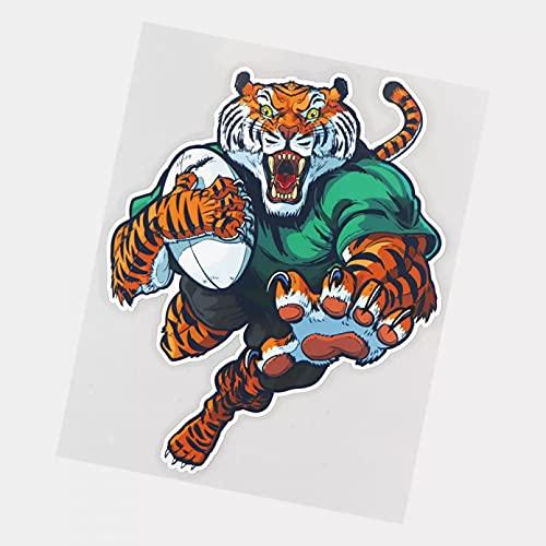 UYEDSR Autoaufkleber 2 Stück Tiger spielt Rugby Auto Aufkleber Auto Dekoration Autoaufkleber Stoßstange Aufkleber 17 × 21,5 cm
