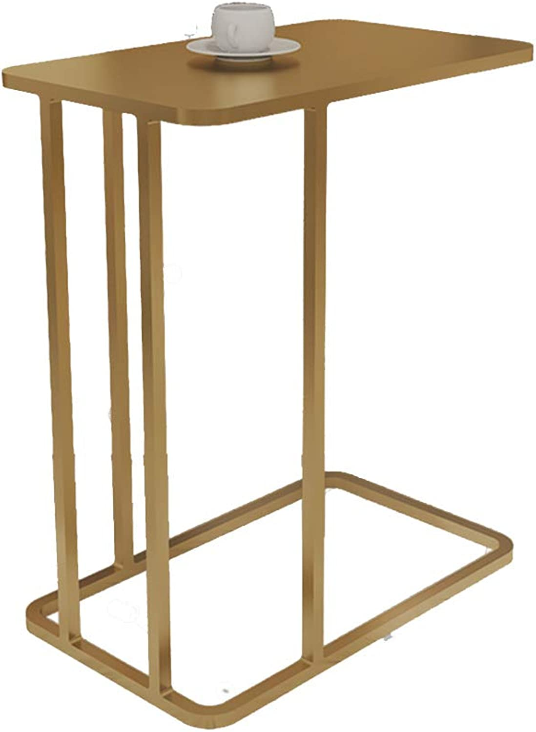 ZHIRONG gold Metal Material Sofa Side End Table C Shaped Space Saving Coffee Table Snack Storage Trolly Table Home Living Room Office