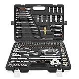 123 Piezas Drive Socket Set Llave de trinquete Combinación Herramientas de reparación automática Kit de herramientas para reparación de coches/mantenimiento del hogar