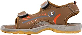 Hopscotch Boys PU Text Print Velcro Open Toe Sandal - Tan