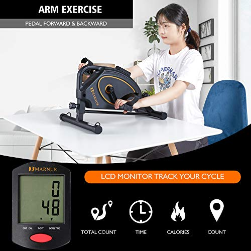 MARNUR Under Desk Bike Pedal Exerciser Mini Exercise Bikes Peddler Magnetic Pedal Cycle Portable for Arm/Leg Exercise…