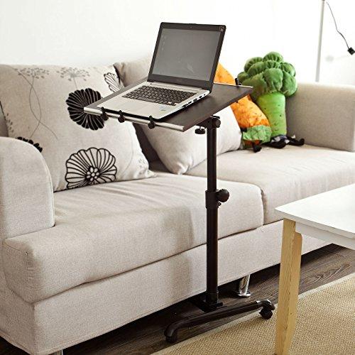 SoBuy FBT07N-BR Pflegetisch Notebooktisch mit Stopper Betttisch Laptoptisch Beistelltisch Sofatisch mit Rollen höhenverstellbar braun