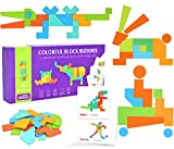 HWD Wooden Pattern Blocks Set Geometric Shape Jigsaw Puzzles Tangram Brain Teasers Sorting Games Early Educational Montessori Learning Toys Gifts for Kids Toddlers Age 3+ Years Old