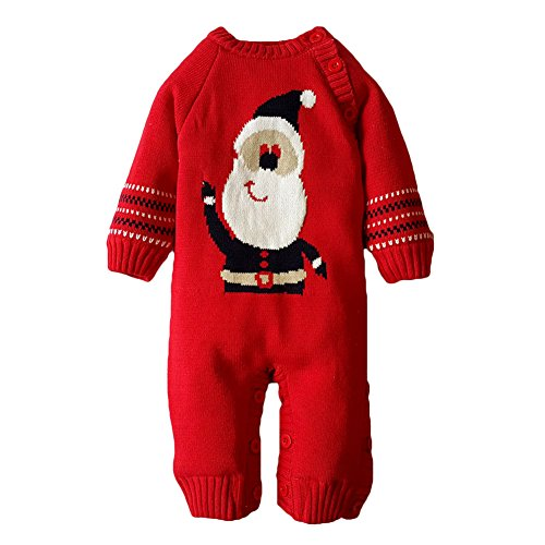 Hibote Xmas Infantile Boy Girl Pagliaccetto Knitted Sweater Cotton Outwear