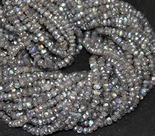 Shree_Narayani Cuentas sueltas de labradorita revestidas de plata de calidad fina con micro facetas de 3 mm de 16 pulgadas para hacer joyas, manualidades, collares, pulseras, pendientes, 1 hebra