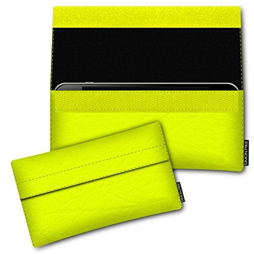SIMON PIKE Schutztasche Newyork, kompatibel mit BlackBerry Porsche Design P9983, in 01 Neongelb Kunstleder Handyhülle Schutzhülle Handytasche
