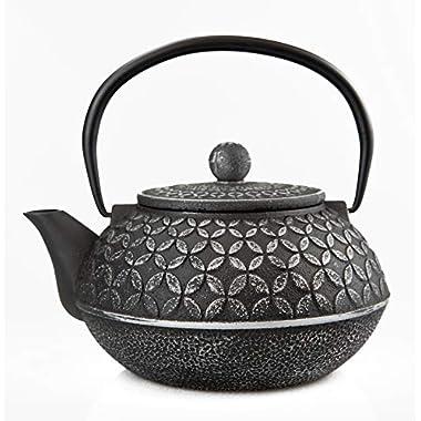 27 Oz Cast Iron Teapot/Japanese Tetsubin Teakettle with Stainless Steel Infuser/Enamel Coated Interior