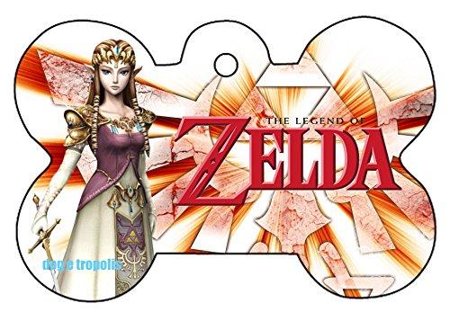 O2 Princess Zelda Link Triforce Art Design Custom Logo Dog Pet Cat ID Tag Bone Shape Personalized Key Ring (D)