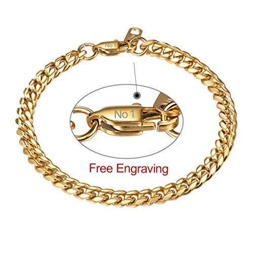 PROSTEEL Herren personalisiert Armband 6mm Edelstahl Panzerkette Armband schwer Glieder Link Name Gravur Kettenarmband Armkette Armreif, Länge 21cm, Gold