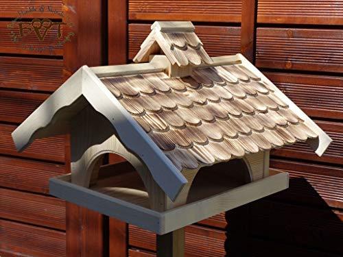 Vogelhaus,groß,mit Nistkasten,BTV-X-VONI5-gefla001 Schönes MASSIVES GANZJAHRES Premium Vogelhaus + NISTKASTEN IN EINEM (VOLL FUNKTIONSFÄHIG mit Reinigungsvorrichtung), wetterfestes Vogelfutterhaus M