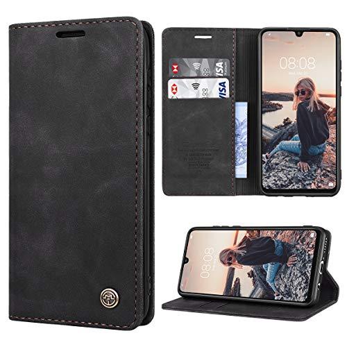 RuiPower Handyhülle für Huawei P30 Lite Hülle Premium Leder PU Flip Magnet Wallet Klapphülle Silikon Bumper Schutzhülle für Huawei P30 Lite/Huawei P30 Lite New Edition Tasche - Schwarz
