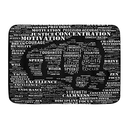 LOSUMIGE Badematte Motivation Essenz des Fighter Word Gym Kickboxing Athlet Karate, Plüsch Badezimmer-Dekor-Matte mit Rutschfester Unterseite, 75CM x 45CM