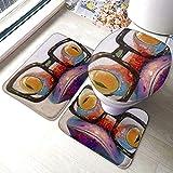 FFLSDR Rana con Occhiali Set di tappetini da Bagno in 3 Pezzi Tappeto da Bagno Morbido e Assorbente Antiscivolo Coperchio del Coperchio della stuoia di Contorno