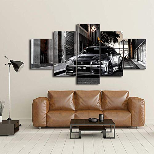 5Pieces Diamond Painting for Adults,Nissan Skyline GTR Car Pictures Bedside Home Decorative Wall Art Posters Canvas Paintings HD Print Frame Artwork Modern