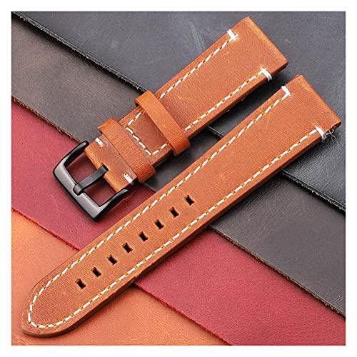 HANLILI kasu Correa de Vaca 18 mm 20 mm 22 mm 24 mm de Cuero Genuino de Cuero Correa de cinturón Manual Hombres Grueso marrón Negro Reloj de Reloj cinturón de cinturón accte